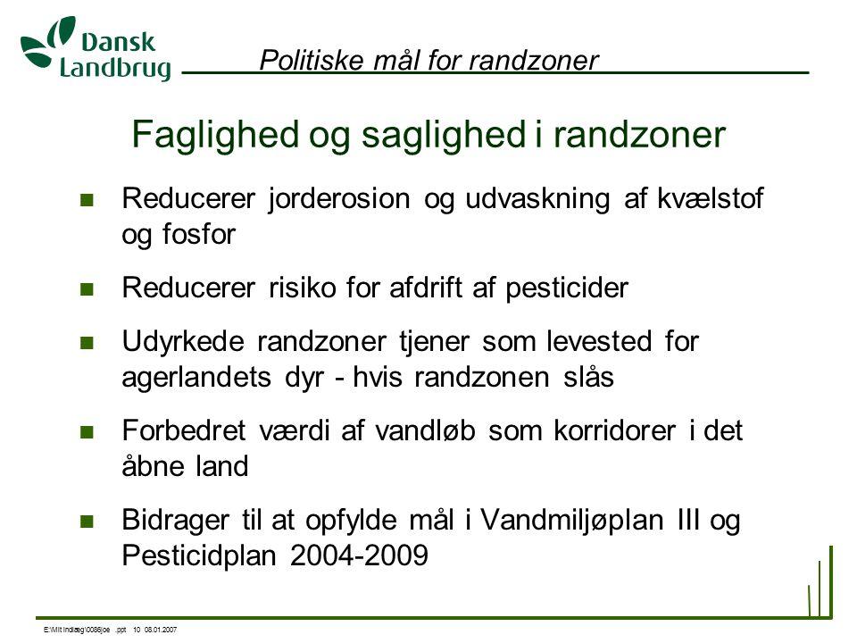 E:\Mit indlæg\0086joe.ppt 10 08.01.2007 Politiske mål for randzoner Reducerer jorderosion og udvaskning af kvælstof og fosfor Reducerer risiko for afdrift af pesticider Udyrkede randzoner tjener som levested for agerlandets dyr - hvis randzonen slås Forbedret værdi af vandløb som korridorer i det åbne land Bidrager til at opfylde mål i Vandmiljøplan III og Pesticidplan 2004-2009 Faglighed og saglighed i randzoner