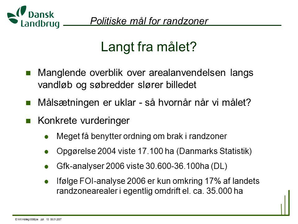 E:\Mit indlæg\0086joe.ppt 13 08.01.2007 Politiske mål for randzoner Langt fra målet.