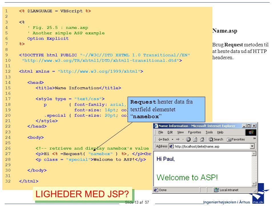 Ingeniørhøjskolen i Århus Slide 13 af 57 Name.asp Brug Request metoden til at hente data ud af HTTP headeren.