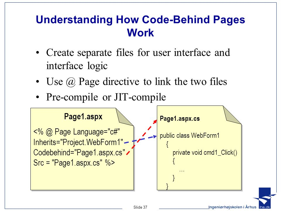 Ingeniørhøjskolen i Århus Slide 37 Understanding How Code-Behind Pages Work Create separate files for user interface and interface logic Use @ Page directive to link the two files Pre-compile or JIT-compile Page1.aspx Page1.aspx.cs public class WebForm1 { private void cmd1_Click() { … }