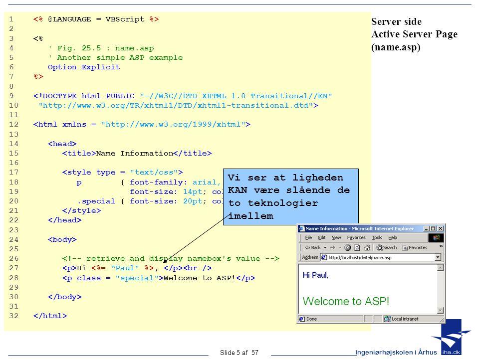 Ingeniørhøjskolen i Århus Slide 5 af 57 Server side Active Server Page (name.asp) 1 2 3 <% 4 Fig.