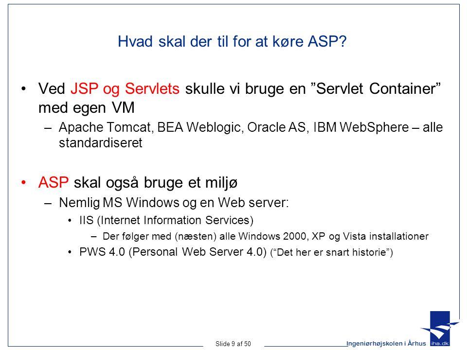 Ingeniørhøjskolen i Århus Slide 9 af 50 Hvad skal der til for at køre ASP.