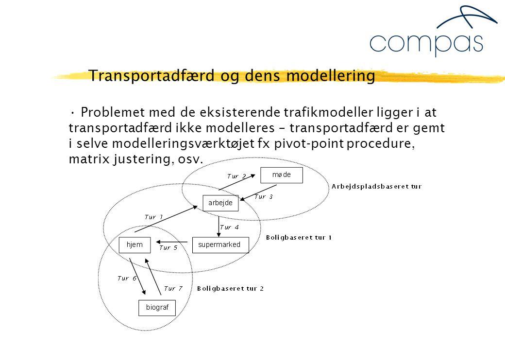 Problemet med de eksisterende trafikmodeller ligger i at transportadfærd ikke modelleres – transportadfærd er gemt i selve modelleringsværktøjet fx pivot-point procedure, matrix justering, osv.