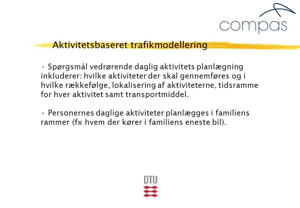 Spørgsmål vedrørende daglig aktivitets planlægning inkluderer: hvilke aktiviteter der skal gennemføres og i hvilke rækkefølge, lokalisering af aktiviteterne, tidsramme for hver aktivitet samt transportmiddel.