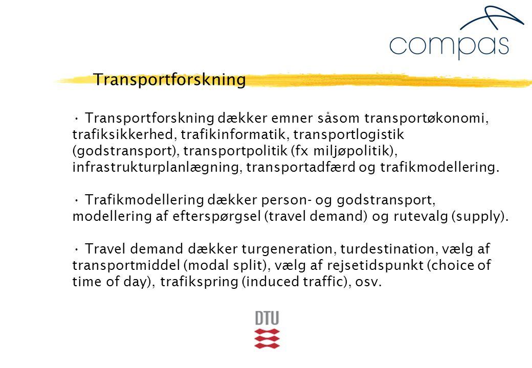 Transportforskning dækker emner såsom transportøkonomi, trafiksikkerhed, trafikinformatik, transportlogistik (godstransport), transportpolitik (fx miljøpolitik), infrastrukturplanlægning, transportadfærd og trafikmodellering.