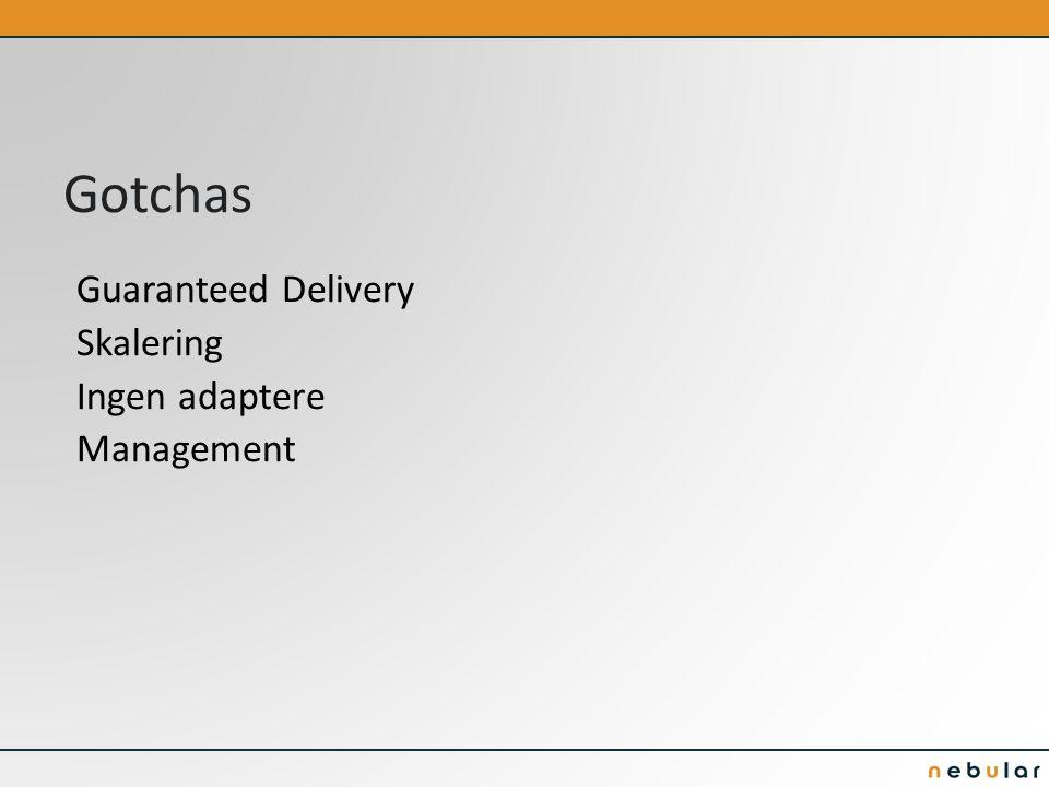 Gotchas Guaranteed Delivery Skalering Ingen adaptere Management