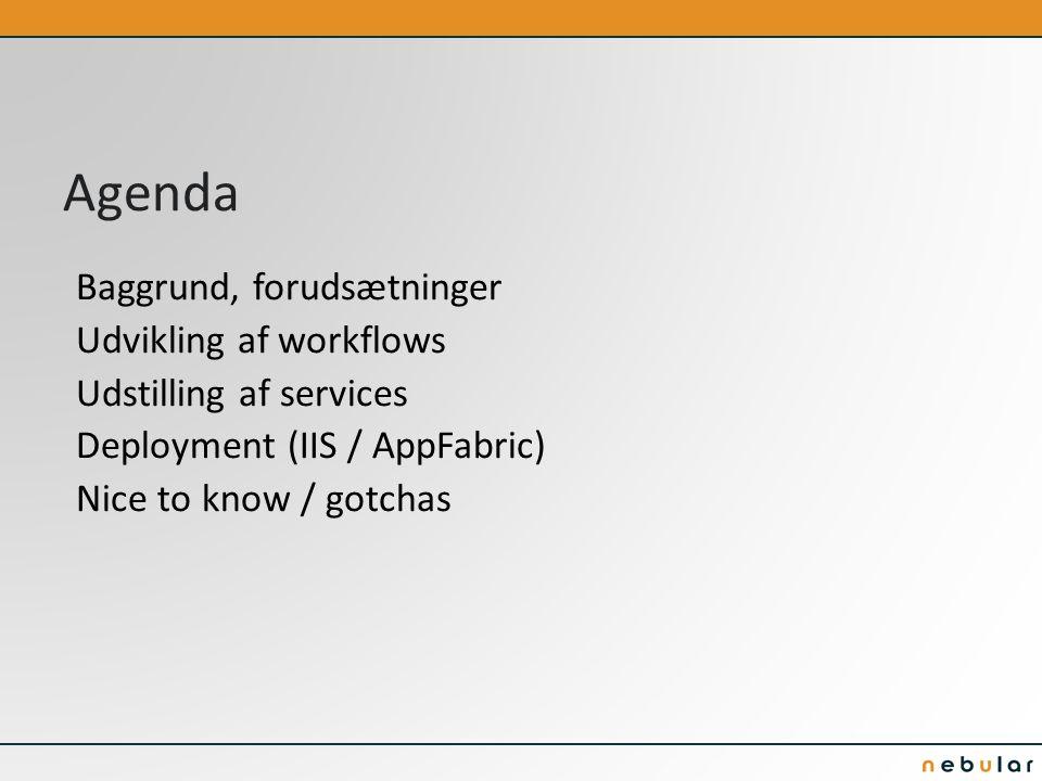 Agenda Baggrund, forudsætninger Udvikling af workflows Udstilling af services Deployment (IIS / AppFabric) Nice to know / gotchas