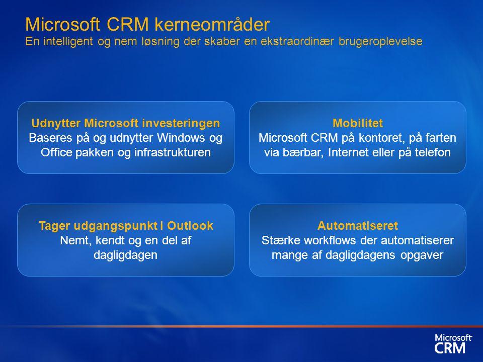 Microsoft CRM kerneområder En intelligent og nem løsning der skaber en ekstraordinær brugeroplevelse Udnytter Microsoft investeringen Baseres på og udnytter Windows og Office pakken og infrastrukturen Mobilitet Microsoft CRM på kontoret, på farten via bærbar, Internet eller på telefon Tager udgangspunkt i Outlook Nemt, kendt og en del af dagligdagen Automatiseret Stærke workflows der automatiserer mange af dagligdagens opgaver