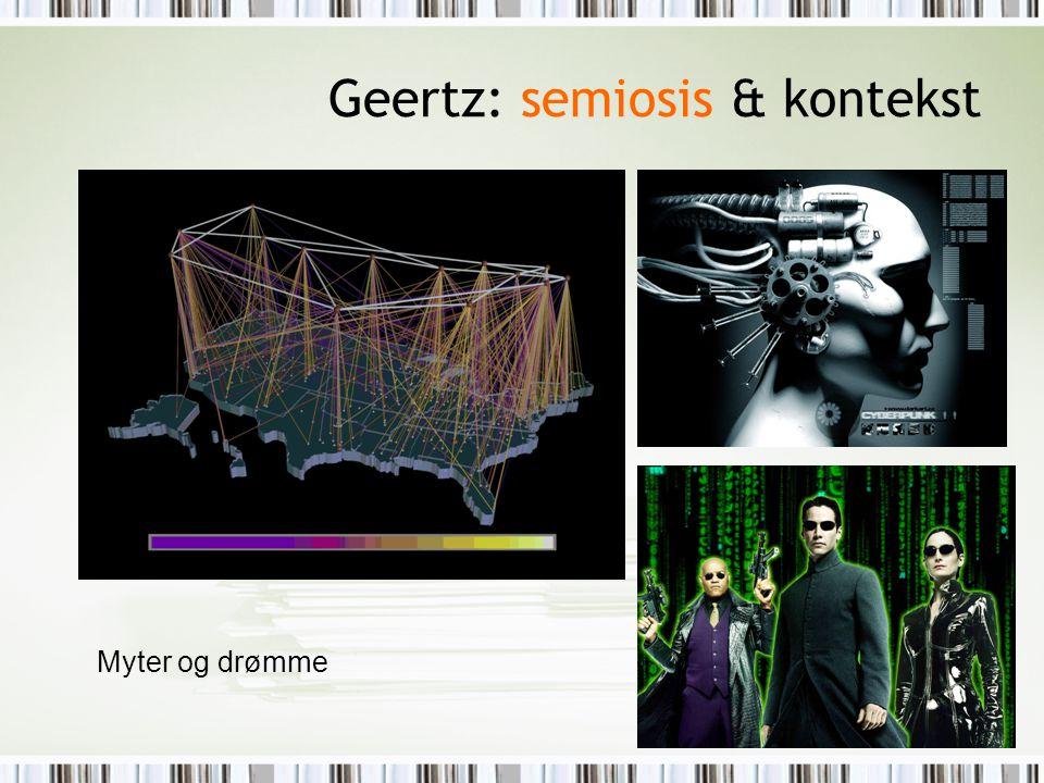 Geertz: semiosis & kontekst Myter og drømme