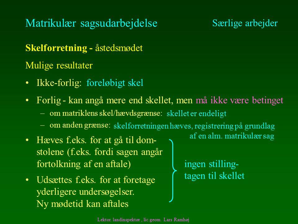 Matrikulær sagsudarbejdelse Ikke-forlig: Særlige arbejder Skelforretning - åstedsmødet Mulige resultater Udsættes f.eks.