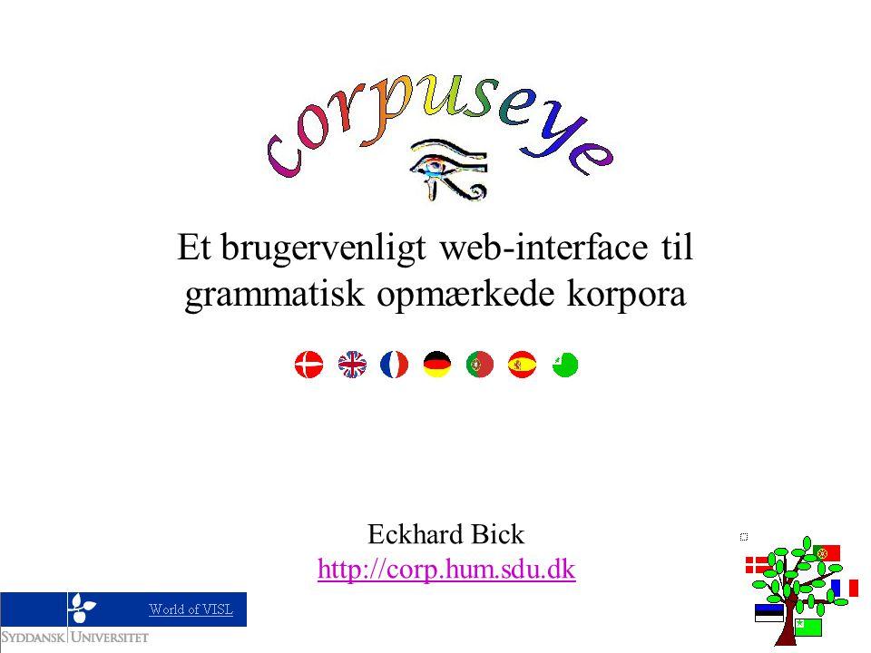 CorpusEye Et brugervenligt web-interface til grammatisk opmærkede korpora Eckhard Bick http://corp.hum.sdu.dk