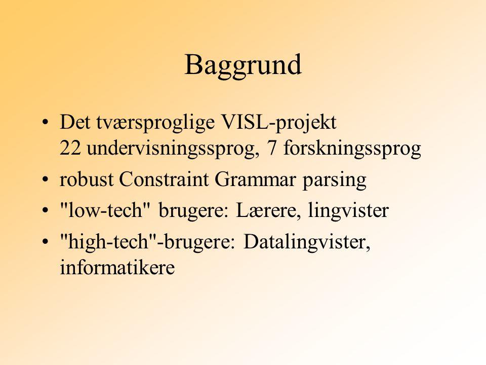 Baggrund Det tværsproglige VISL-projekt 22 undervisningssprog, 7 forskningssprog robust Constraint Grammar parsing low-tech brugere: Lærere, lingvister high-tech -brugere: Datalingvister, informatikere