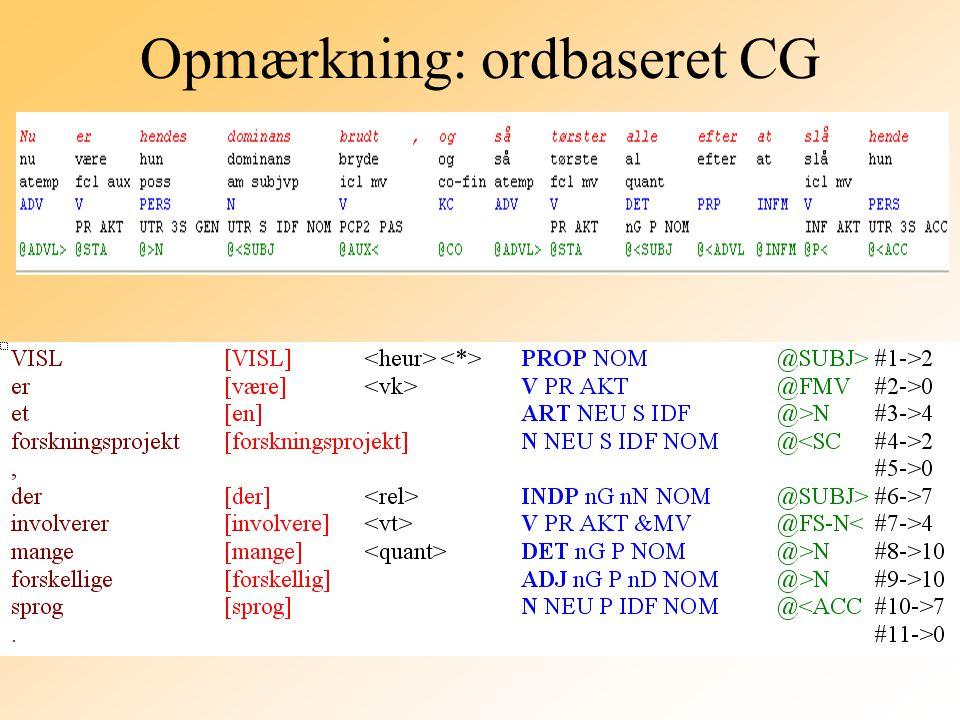 Opmærkning: ordbaseret CG