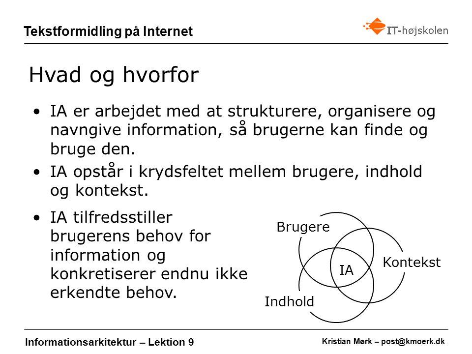 Kristian Mørk – post@kmoerk.dk Tekstformidling på Internet Informationsarkitektur – Lektion 9 IA er arbejdet med at strukturere, organisere og navngive information, så brugerne kan finde og bruge den.