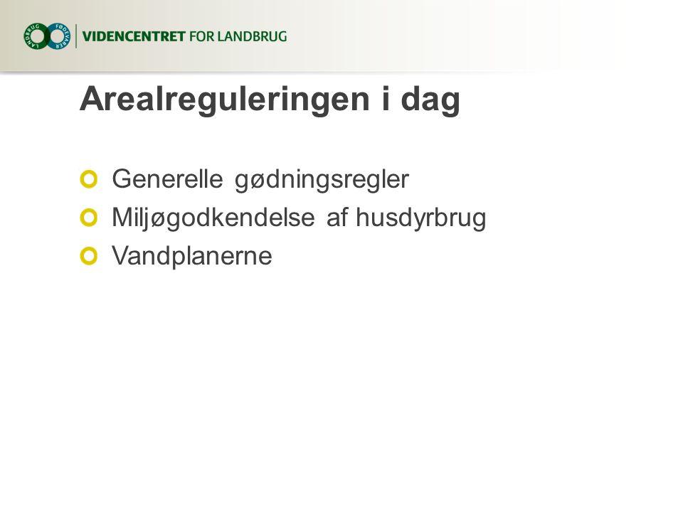 Arealreguleringen i dag Generelle gødningsregler Miljøgodkendelse af husdyrbrug Vandplanerne