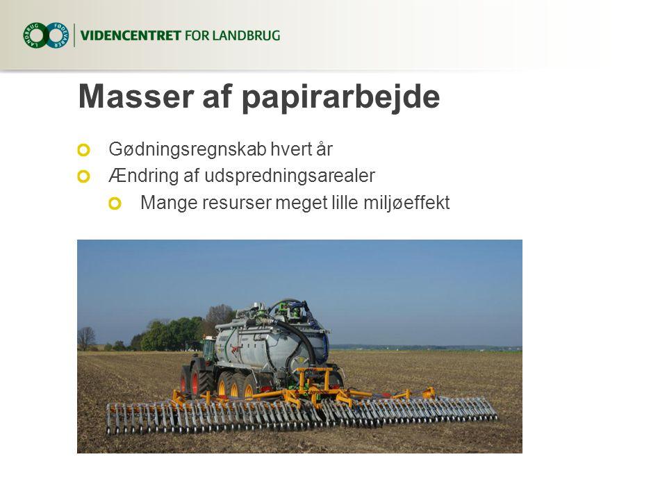 Masser af papirarbejde Gødningsregnskab hvert år Ændring af udspredningsarealer Mange resurser meget lille miljøeffekt