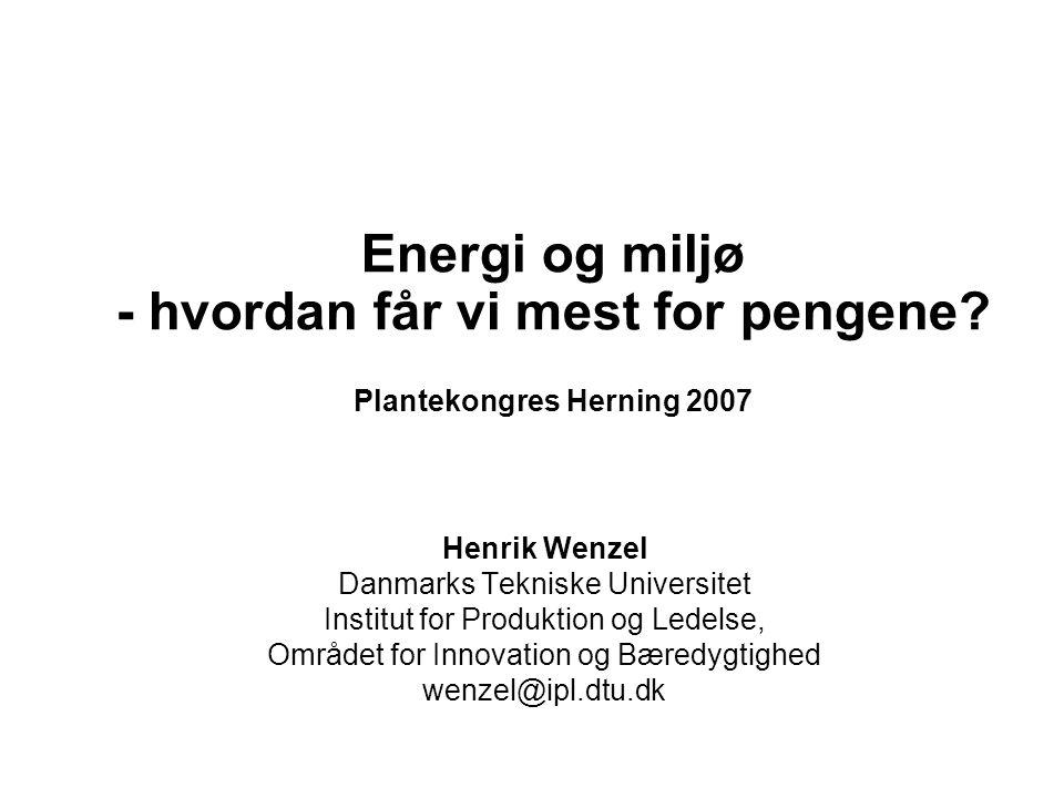 Energi og miljø - hvordan får vi mest for pengene.