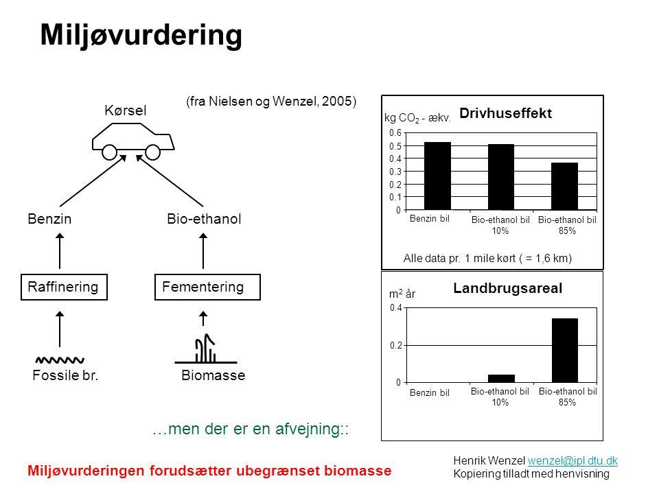 Henrik Wenzel wenzel@ipl.dtu.dk Kopiering tilladt med henvisningwenzel@ipl.dtu.dk Drivhuseffekt 0 0.1 0.2 0.3 0.4 0.5 0.6 Benzin bil Bio-ethanol bil 10% kg CO 2 - ækv.