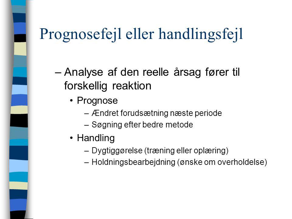 Prognosefejl eller handlingsfejl –Analyse af den reelle årsag fører til forskellig reaktion Prognose –Ændret forudsætning næste periode –Søgning efter bedre metode Handling –Dygtiggørelse (træning eller oplæring) –Holdningsbearbejdning (ønske om overholdelse)