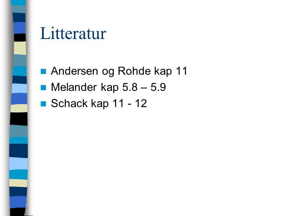 Litteratur Andersen og Rohde kap 11 Melander kap 5.8 – 5.9 Schack kap 11 - 12