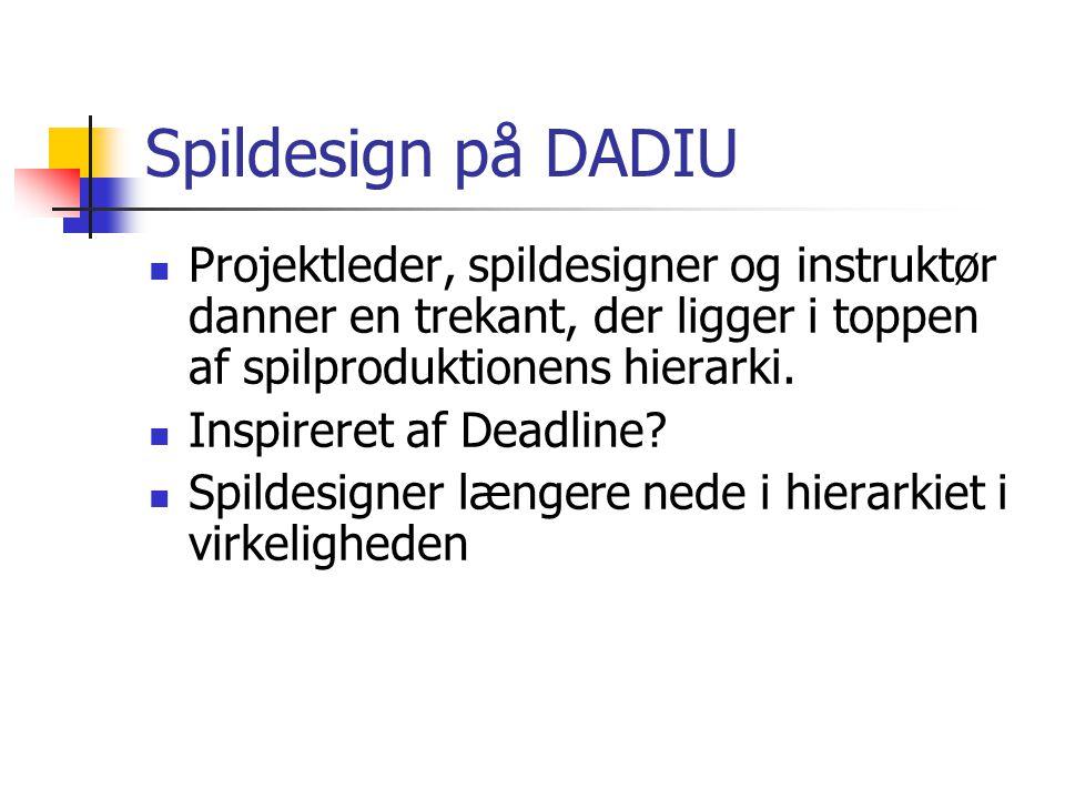 Spildesign på DADIU Projektleder, spildesigner og instruktør danner en trekant, der ligger i toppen af spilproduktionens hierarki.