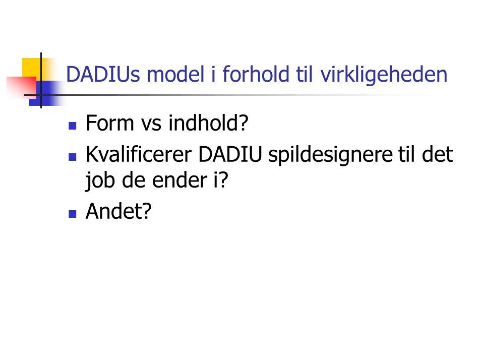 DADIUs model i forhold til virkligeheden Form vs indhold.