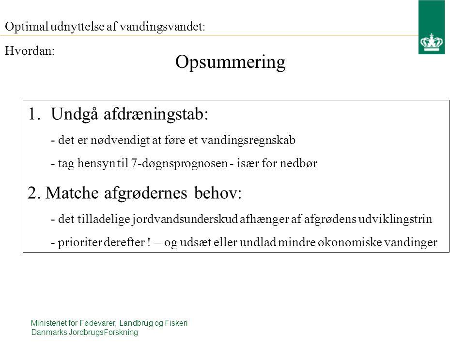 Ministeriet for Fødevarer, Landbrug og Fiskeri Danmarks JordbrugsForskning Optimal udnyttelse af vandingsvandet: 1.Undgå afdræningstab: - det er nødvendigt at føre et vandingsregnskab - tag hensyn til 7-døgnsprognosen - især for nedbør 2.