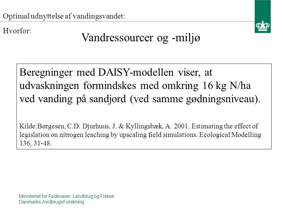 Ministeriet for Fødevarer, Landbrug og Fiskeri Danmarks JordbrugsForskning Optimal udnyttelse af vandingsvandet: Beregninger med DAISY-modellen viser, at udvaskningen formindskes med omkring 16 kg N/ha ved vanding på sandjord (ved samme gødningsniveau).