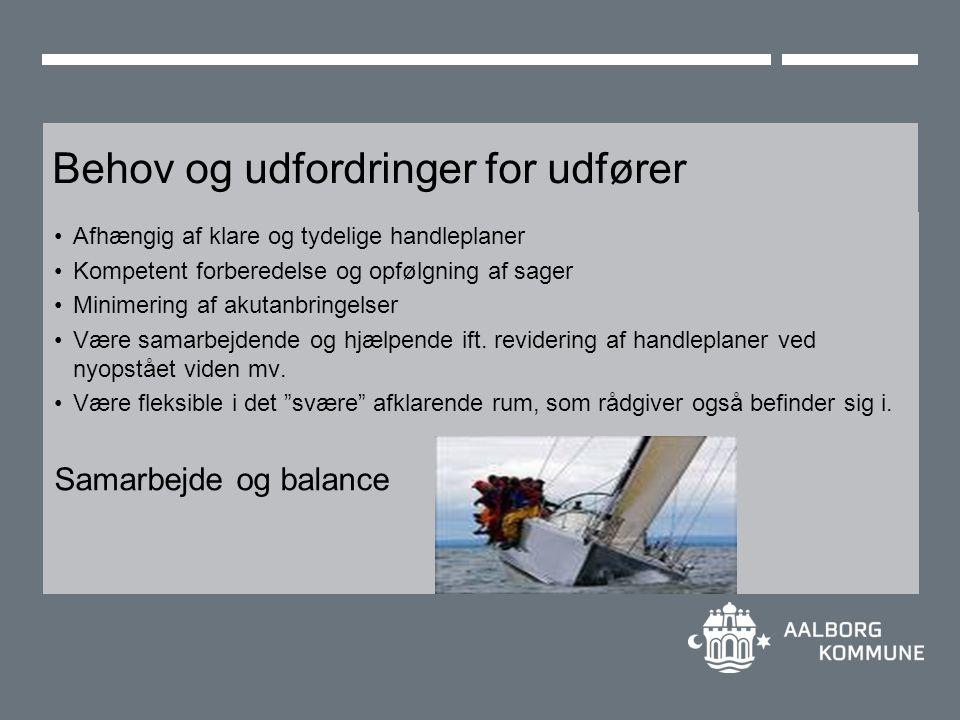 Behov og udfordringer for udfører Afhængig af klare og tydelige handleplaner Kompetent forberedelse og opfølgning af sager Minimering af akutanbringelser Være samarbejdende og hjælpende ift.