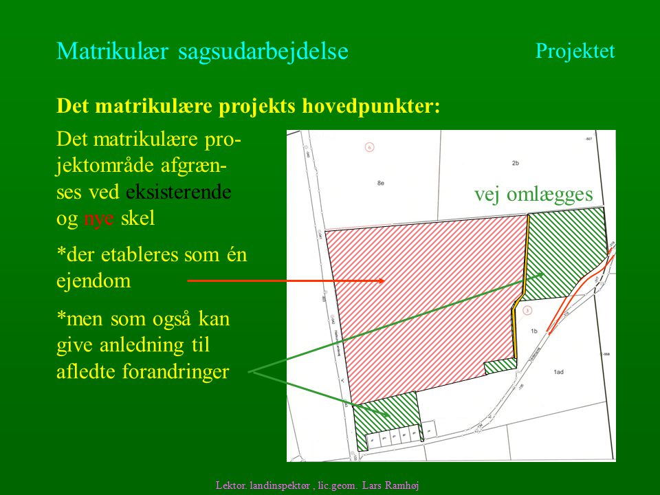 Matrikulær sagsudarbejdelse Det matrikulære projekts hovedpunkter: Lektor.