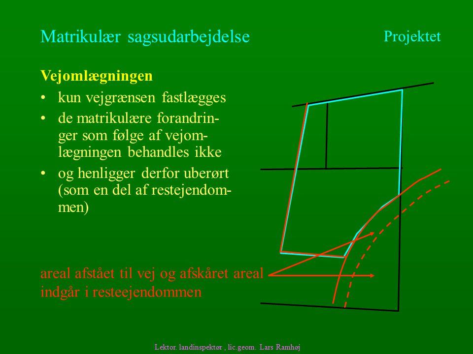 Matrikulær sagsudarbejdelse kun vejgrænsen fastlægges Vejomlægningen Lektor.