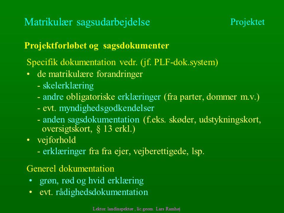 Matrikulær sagsudarbejdelse de matrikulære forandringer - skelerklæring - andre obligatoriske erklæringer (fra parter, dommer m.v.) - evt.
