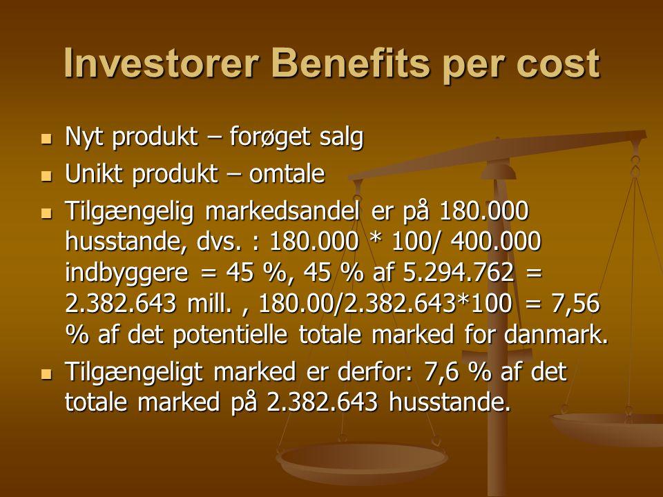 Investorer Benefits per cost Nyt produkt – forøget salg Nyt produkt – forøget salg Unikt produkt – omtale Unikt produkt – omtale Tilgængelig markedsandel er på 180.000 husstande, dvs.