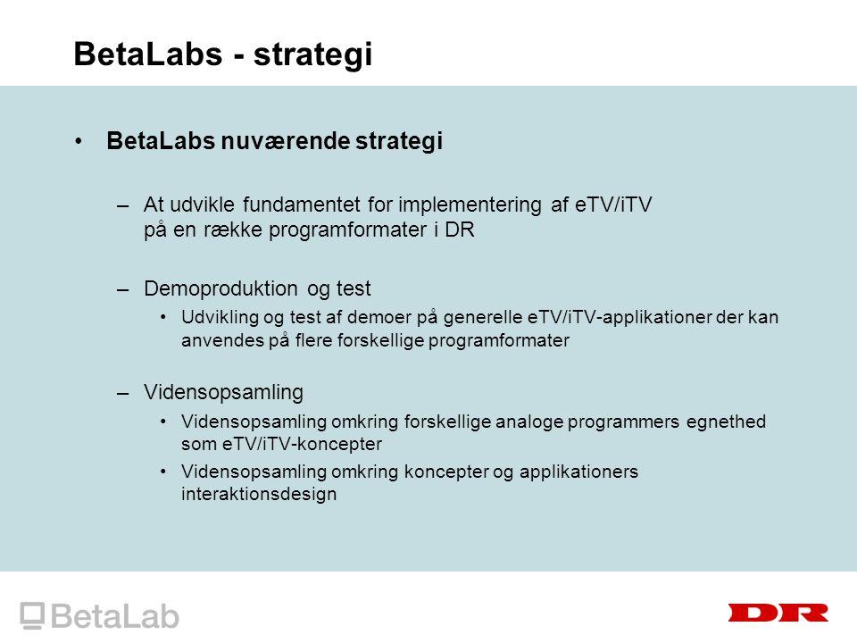 BetaLabs - strategi BetaLabs nuværende strategi –At udvikle fundamentet for implementering af eTV/iTV på en række programformater i DR –Demoproduktion og test Udvikling og test af demoer på generelle eTV/iTV-applikationer der kan anvendes på flere forskellige programformater –Vidensopsamling Vidensopsamling omkring forskellige analoge programmers egnethed som eTV/iTV-koncepter Vidensopsamling omkring koncepter og applikationers interaktionsdesign