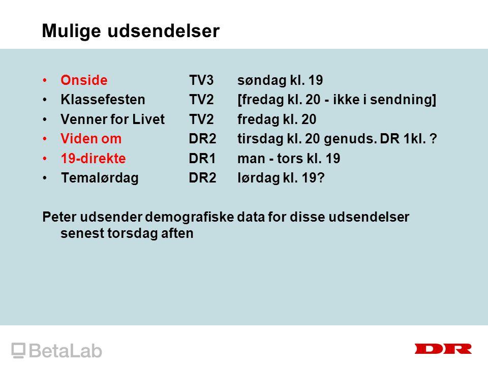 Mulige udsendelser OnsideTV3søndag kl. 19 KlassefestenTV2[fredag kl.