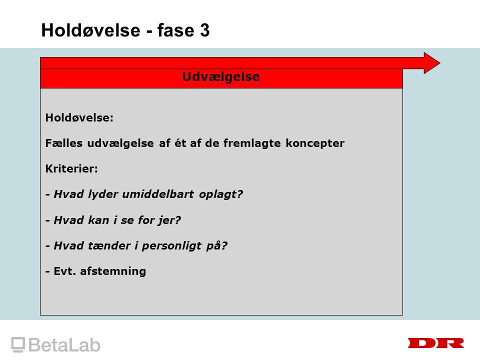 Holdøvelse - fase 3 Udvælgelse Holdøvelse: Fælles udvælgelse af ét af de fremlagte koncepter Kriterier: - Hvad lyder umiddelbart oplagt.