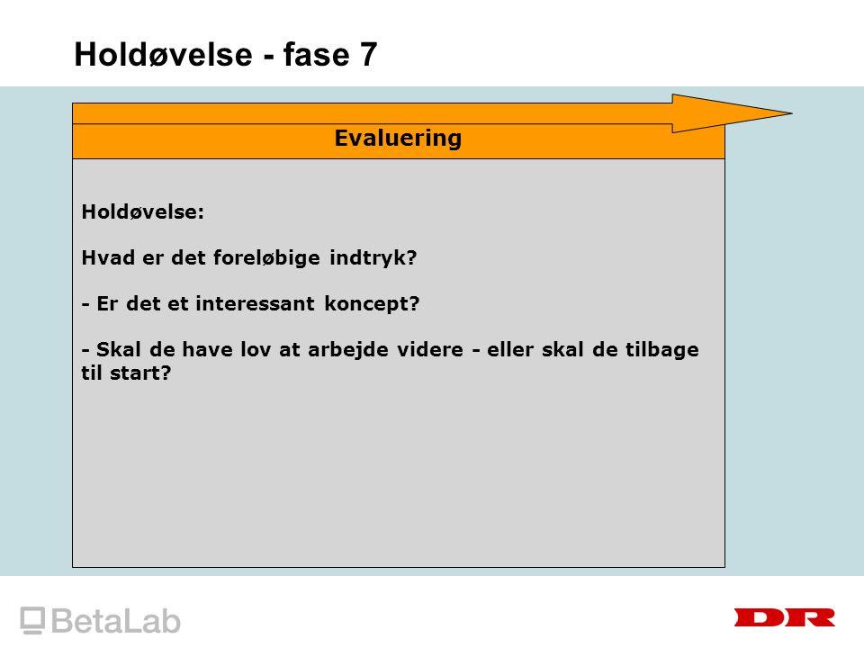 Holdøvelse - fase 7 Evaluering Holdøvelse: Hvad er det foreløbige indtryk.