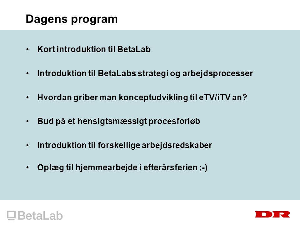 Dagens program Kort introduktion til BetaLab Introduktion til BetaLabs strategi og arbejdsprocesser Hvordan griber man konceptudvikling til eTV/iTV an.