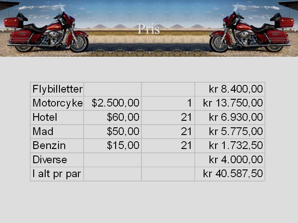 Varme Hotelpriser –By centrum $189 –5 km væk $59 Rabatter –på FDM kortet –KOA –Kuponer Turist i USA –National parker –Visitor Center Drikkepenge –10 - 15% Forsikringer På motorcykel –Bagage-mængder –Hastighedsgrænser –Hvordan bliver MC- ister opfattet.