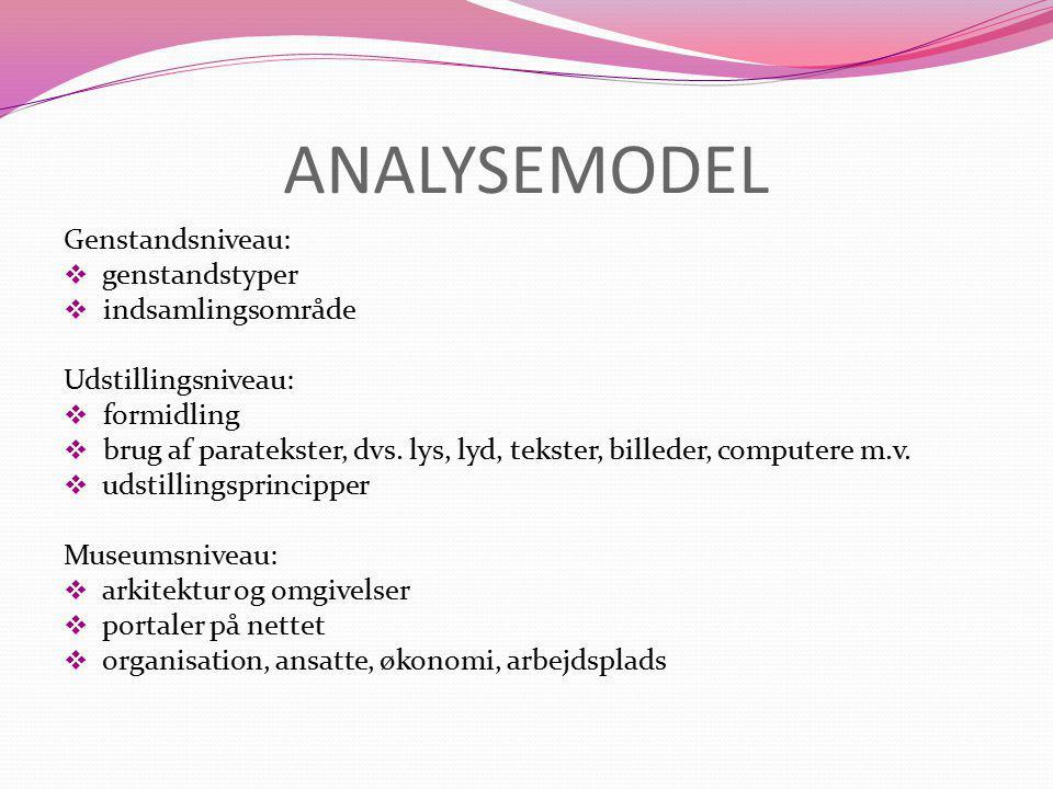 ANALYSEMODEL Genstandsniveau:  genstandstyper  indsamlingsområde Udstillingsniveau:  formidling  brug af paratekster, dvs.