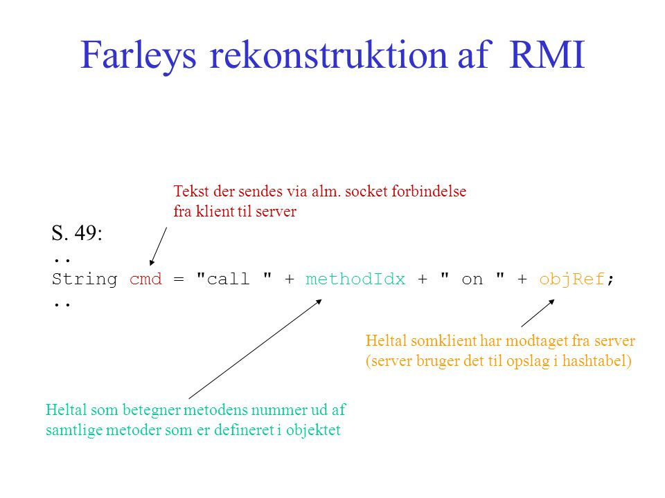 Farleys rekonstruktion af RMI S. 49:.. String cmd = call + methodIdx + on + objRef;..