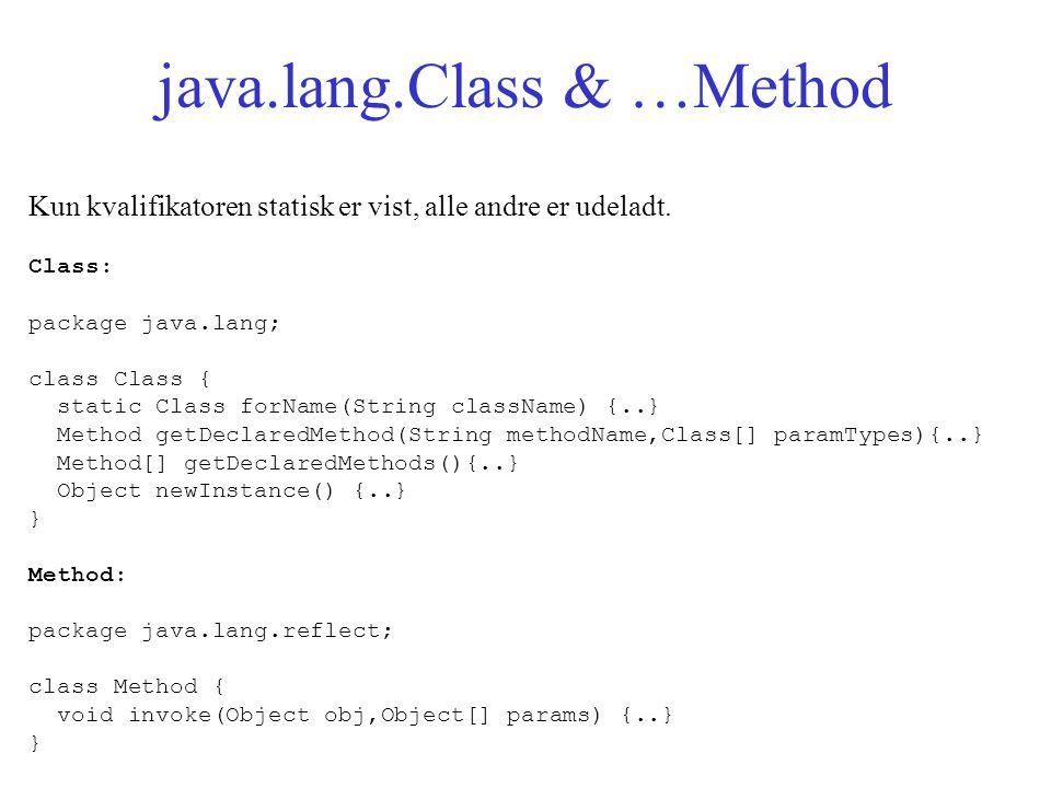 java.lang.Class & …Method Kun kvalifikatoren statisk er vist, alle andre er udeladt.