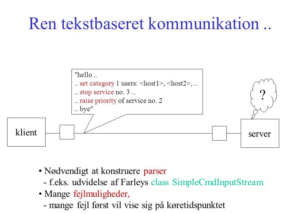 Ren tekstbaseret kommunikation.. klient server hello....