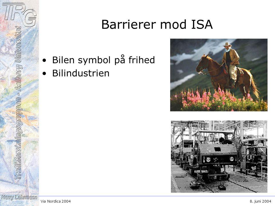 Via Nordica 20048. juni 2004 Barrierer mod ISA Bilen symbol på frihed Bilindustrien