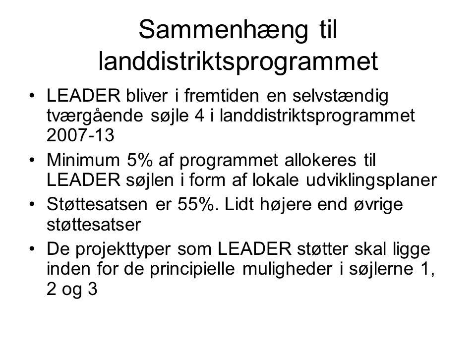 Sammenhæng til landdistriktsprogrammet LEADER bliver i fremtiden en selvstændig tværgående søjle 4 i landdistriktsprogrammet 2007-13 Minimum 5% af programmet allokeres til LEADER søjlen i form af lokale udviklingsplaner Støttesatsen er 55%.