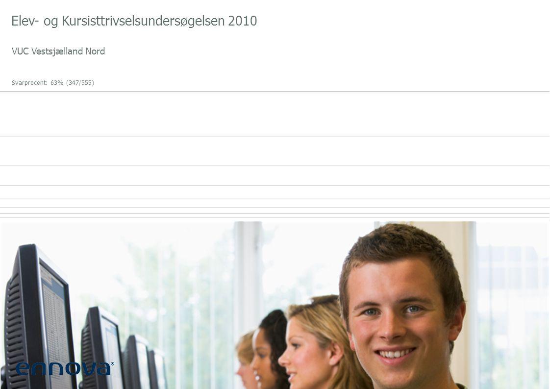 Elev- og Kursisttrivselsundersøgelsen 2010 VUC Vestsjælland Nord Svarprocent: 63% (347/555)