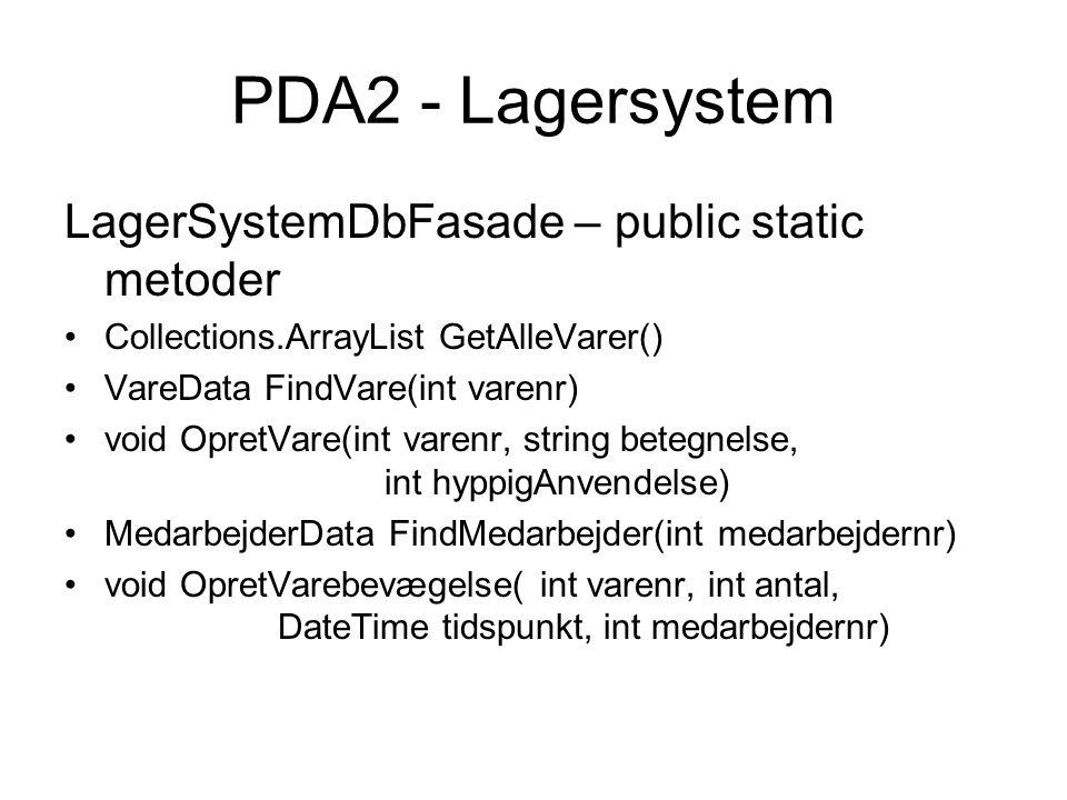 LagerSystemDbFasade – public static metoder Collections.ArrayList GetAlleVarer() VareData FindVare(int varenr) void OpretVare(int varenr, string betegnelse, int hyppigAnvendelse) MedarbejderData FindMedarbejder(int medarbejdernr) void OpretVarebevægelse( int varenr, int antal, DateTime tidspunkt, int medarbejdernr)