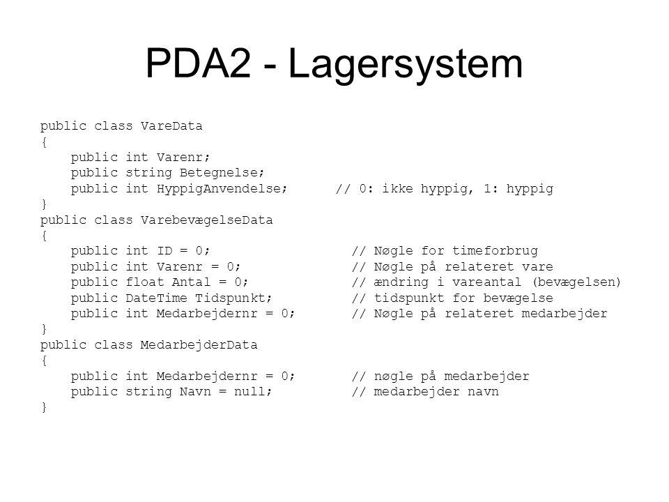 PDA2 - Lagersystem public class VareData { public int Varenr; public string Betegnelse; public int HyppigAnvendelse; // 0: ikke hyppig, 1: hyppig } public class VarebevægelseData { public int ID = 0; // Nøgle for timeforbrug public int Varenr = 0; // Nøgle på relateret vare public float Antal = 0; // ændring i vareantal (bevægelsen) public DateTime Tidspunkt; // tidspunkt for bevægelse public int Medarbejdernr = 0; // Nøgle på relateret medarbejder } public class MedarbejderData { public int Medarbejdernr = 0; // nøgle på medarbejder public string Navn = null; // medarbejder navn }