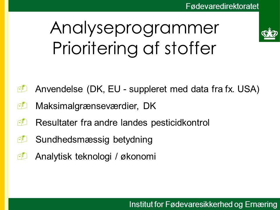 Fødevaredirektoratet Analyseprogrammer Prioritering af stoffer  Anvendelse (DK, EU - suppleret med data fra fx.