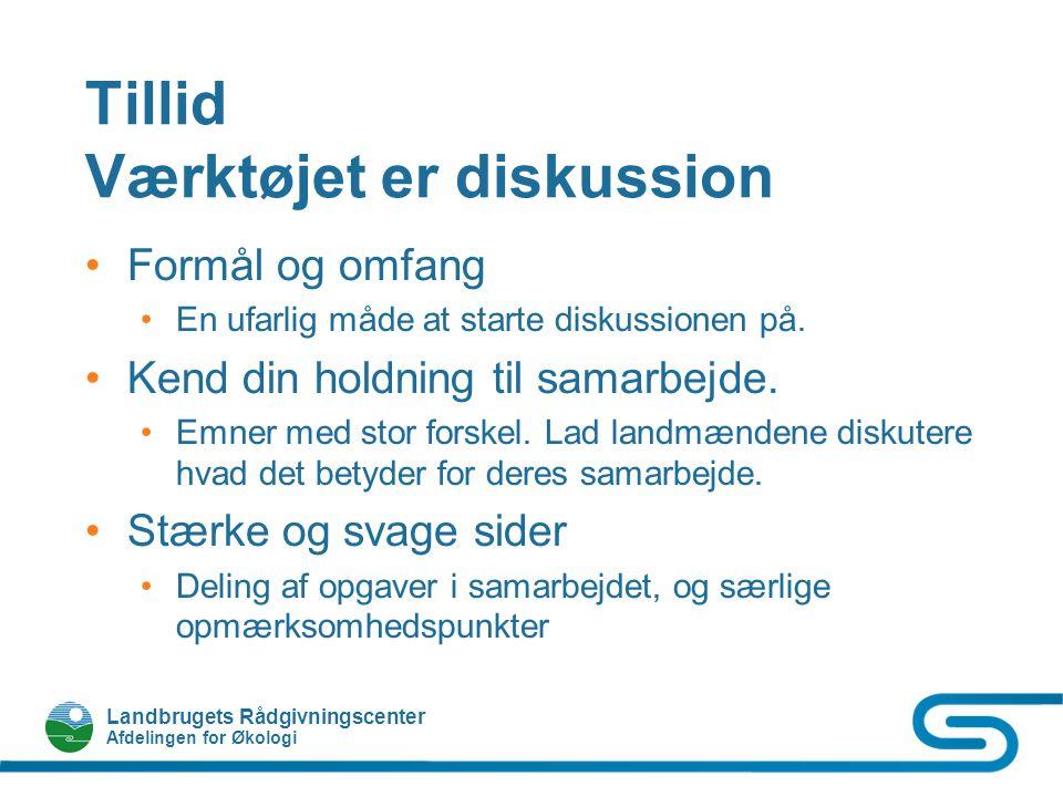Landbrugets Rådgivningscenter Afdelingen for Økologi Tillid Værktøjet er diskussion Formål og omfang En ufarlig måde at starte diskussionen på.